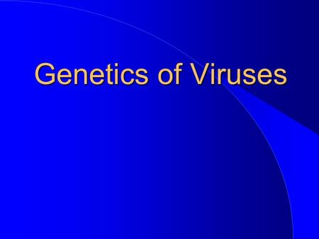 Genetics of Viruses.