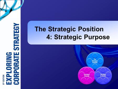 The Strategic Position 4: Strategic Purpose. Exploring Corporate Strategy 8e, © Pearson Education 2008 4-2 Learning Outcomes (1)  Identify the components.