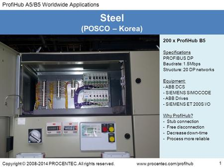 Steel (POSCO – Korea) 200 x ProfiHub B5 Specifications PROFIBUS DP