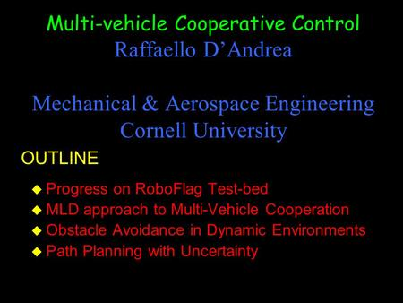 cooperative control of multi-agent systems pdf