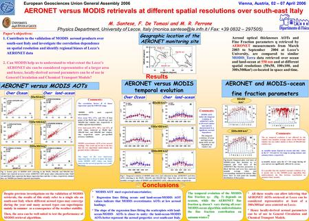 European Geosciences Union General Assembly 2006 Vienna, Austria, 02 – 07 April 2006 Paper's objectives: 1. Contribute to the validation of MODIS aerosol.