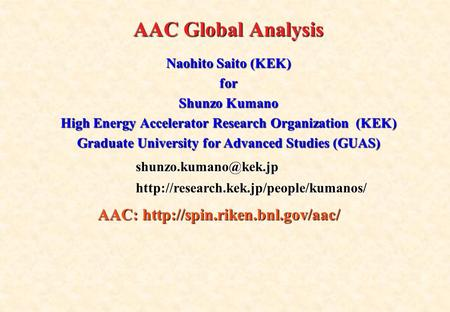 AAC Global Analysis Naohito Saito (KEK) for Shunzo Kumano High Energy Accelerator Research Organization (KEK) Graduate University for Advanced Studies.