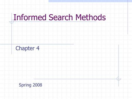 Informed Search Methods Copyright, 1996 © Dale Carnegie & Associates, Inc. Chapter 4 Spring 2008.