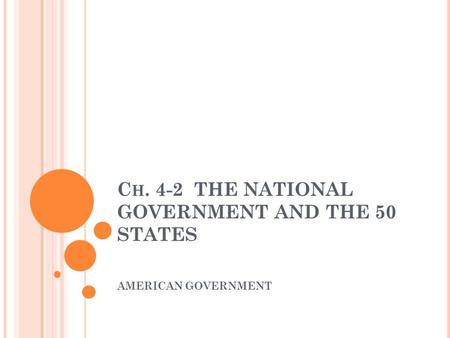 C H. 4-2 THE NATIONAL GOVERNMENT AND THE 50 STATES AMERICAN GOVERNMENT.