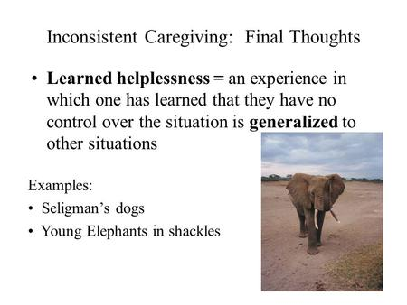 Inconsistent Caregiving: Final Thoughts Learned helplessness = an experience in which one has learned that they have no control over the situation is generalized.
