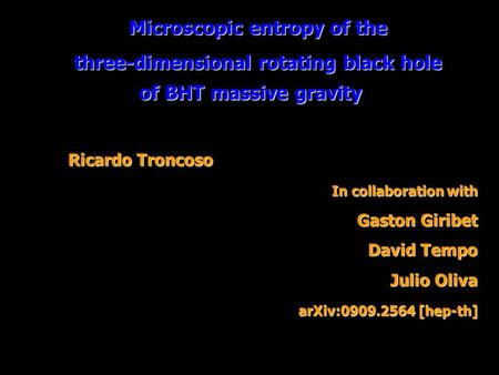 Microscopic entropy of the three-dimensional rotating black hole of BHT massive gravity of BHT massive gravity Ricardo Troncoso Ricardo Troncoso In collaboration.