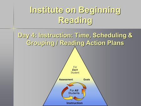 Instruction GoalsAssessment For Each Student For All Students Institute on Beginning Reading Day 4: Instruction: Time, Scheduling & Grouping / Reading.