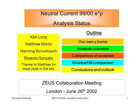 Ricardo GoncaloZEUS Week - London June 20021 Neutral Current 99/00 e + p Analysis Status Ken Long Matthias Moritz Henning Scnurbusch Ricardo Gonçalo Thanks.