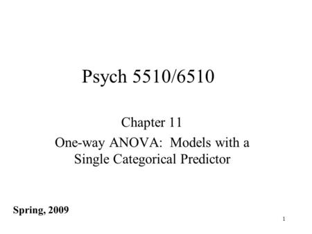 Chapter 11 One-way ANOVA: Models with a Single Categorical Predictor