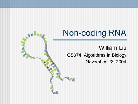 Non-coding RNA William Liu CS374: Algorithms in Biology November 23, 2004.
