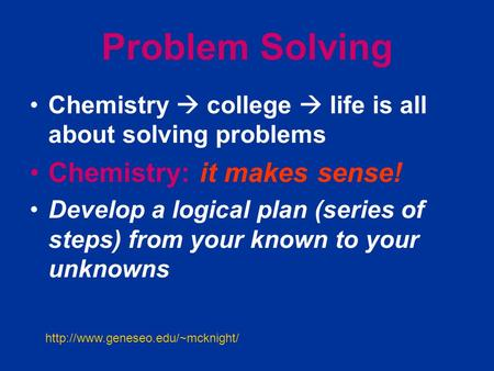 Solving Chemistry Problems
