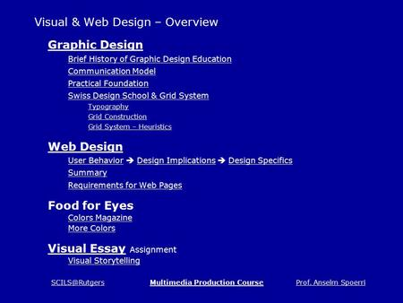 Prof. Anselm <strong>Production</strong> Course Visual & Web Design – Overview Graphic Design Brief History of Graphic Design Education Communication.