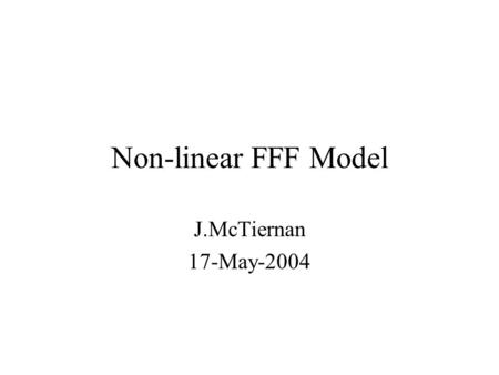 Non-linear FFF Model J.McTiernan 17-May-2004. Optimization method (cont): Iterative process, start with Potential field, extrapolated from magnetogram.