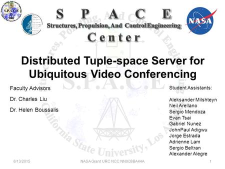 Distributed Tuple-space Server for Ubiquitous <strong>Video</strong> <strong>Conferencing</strong> Faculty Advisors Dr. Charles Liu Dr. Helen Boussalis Student Assistants: Aleksander Milshteyn.