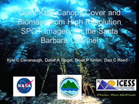 Giant Kelp Canopy Cover and Biomass from High Resolution SPOT Imagery for the Santa Barbara Channel Kyle C Cavanaugh, David A Siegel, Brian P Kinlan, Dan.