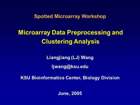 Microarray Data Preprocessing and Clustering Analysis