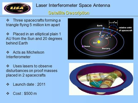 Laser Interferometer Space Antenna Satellite Description  Three spacecrafts forming a triangle flying 5 million km apart  Placed in an elliptical plain.