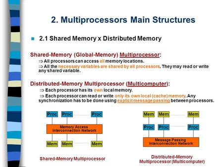 2. Multiprocessors Main Structures 2.1 Shared Memory x Distributed Memory Shared-Memory (Global-Memory) Multiprocessor:  All processors can access all.
