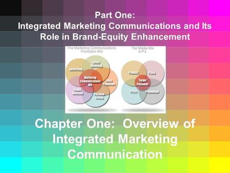 Part One: Integrated Marketing Communications and Its Role in Brand-Equity Enhancement Chapter One: Overview of Integrated Marketing Communication.