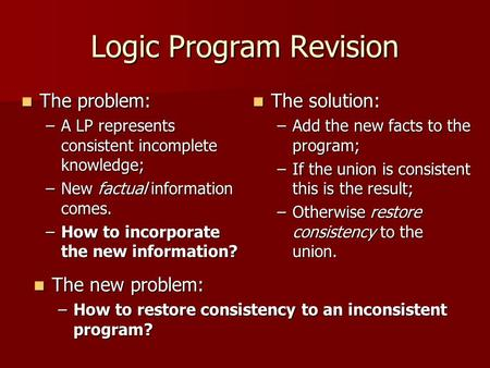 Logic Program Revision The problem: The problem: –A LP represents consistent incomplete knowledge; –New factual information comes. –How to incorporate.
