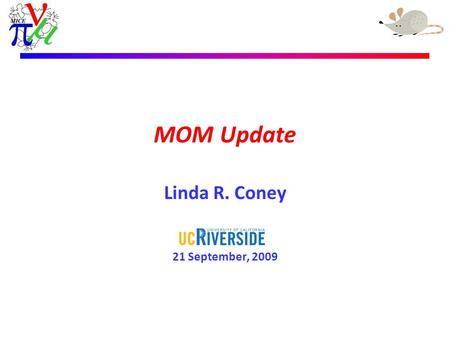 Linda R. Coney – 24th April 2009 MOM Update Linda R. Coney 21 September, 2009.