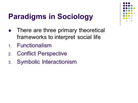 compare and contrast symbolic interactionist perspective the functionalist perspective and the confl Theories in the conflict perspective concentrate on how elders, as a group, are at odds with other groups in society and theories in the symbolic interactionist perspective focus on how elders' identities are created through their interactions.