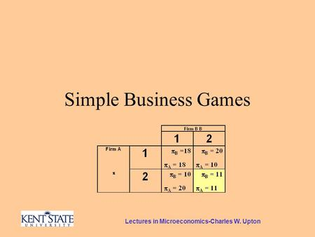 Lectures in Microeconomics-Charles W. Upton Simple Business Games.