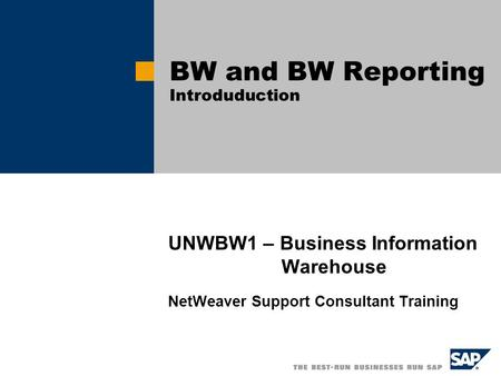 UNWBW1 – Business Information Warehouse NetWeaver Support Consultant Training BW and BW Reporting Introduduction.