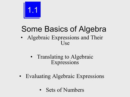 Some Basics of Algebra Algebraic Expressions and Their Use Translating to Algebraic Expressions Evaluating Algebraic Expressions Sets of Numbers 1.1.