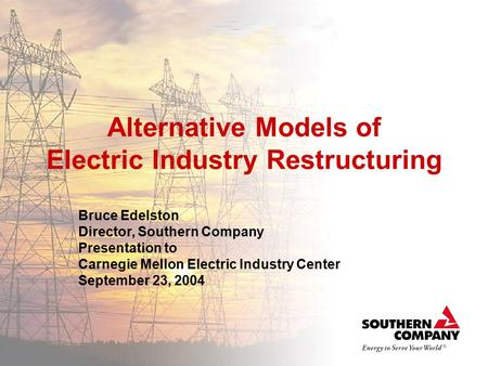 Alternative Models of Electric Industry Restructuring