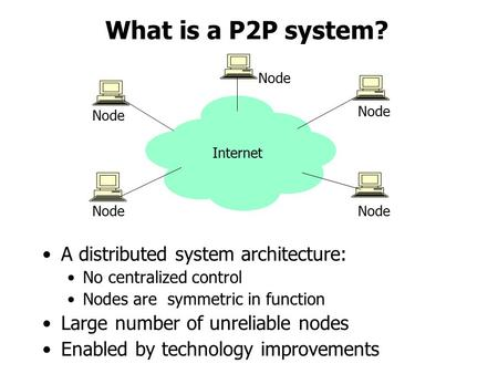 What is a P2P system? A distributed system architecture: No centralized control Nodes are symmetric in function Large number of unreliable nodes Enabled.