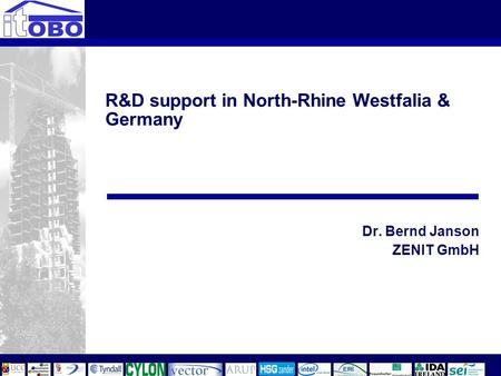 R&D support in North-Rhine Westfalia & Germany Dr. Bernd Janson ZENIT GmbH.