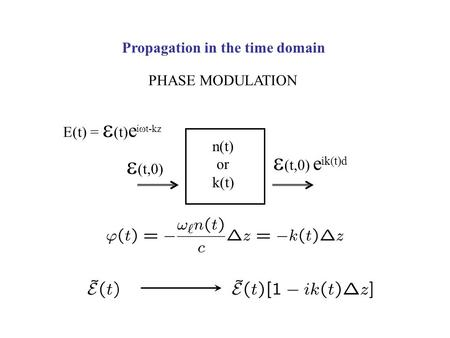 Propagation in the time domain PHASE MODULATION n(t) or k(t) E(t) =  (t) e i  t-kz  (t,0) e ik(t)d  (t,0)