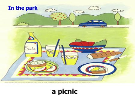 In the park a picnic. What do you want for the picnic? I/We want some _______. What does … want for the picnic? He/She wants some _______.