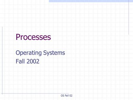 OS Fall ' 02 Processes Operating Systems Fall 2002.