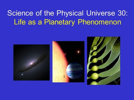 Science of the Physical Universe 30: Life as a Planetary Phenomenon.