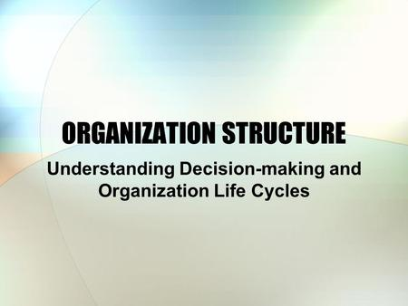 ORGANIZATION STRUCTURE Understanding Decision-making and Organization Life Cycles.