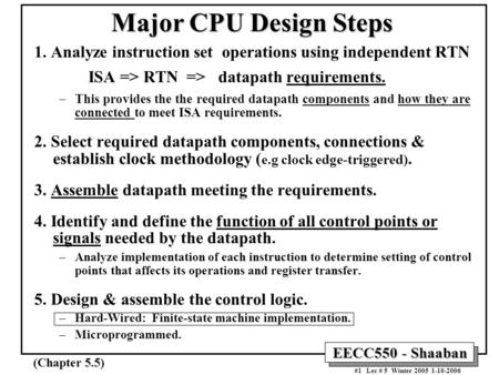 EECC550 - Shaaban #1 Lec # 5 Winter 2005 1-10-2006 Major CPU Design Steps 1. Analyze instruction set operations using independent RTN ISA => RTN => datapath.