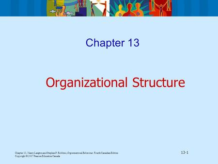 Chapter 13, Nancy Langton and Stephen P. Robbins, Organizational Behaviour, Fourth Canadian Edition 13-1 Copyright © 2007 Pearson Education Canada Chapter.
