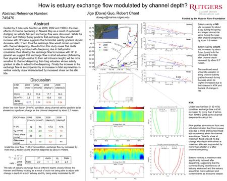 NB KVK How is estuary exchange flow modulated by channel depth? Jige (Dove) Guo, Robert Chant Abstract Reference Number: 745470.