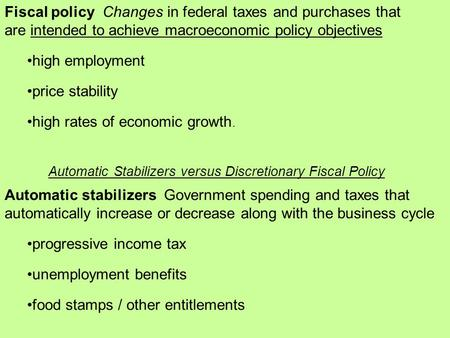Fiscal policy Changes in federal taxes and purchases that are intended to achieve macroeconomic policy objectives high employment price stability high.