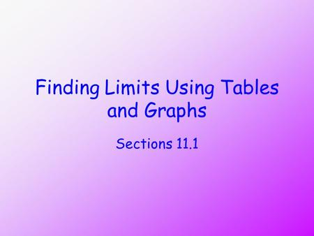 Finding Limits Using Tables and Graphs Sections 11.1.
