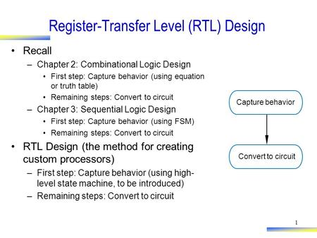 1 Register-Transfer Level (RTL) Design Recall –Chapter 2: Combinational Logic Design First step: Capture behavior (using equation or truth table) Remaining.