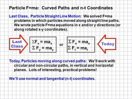 Last Class, Particle Straight Line Motion: We solved F=ma problems in which particles moved along straight line paths. We wrote particle F=ma equations.