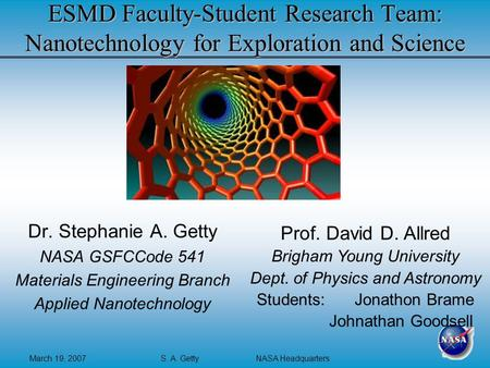 March 19, 2007S. A. Getty NASA Headquarters ESMD Faculty-Student Research Team: Nanotechnology for Exploration and Science Dr. Stephanie A. Getty NASA.