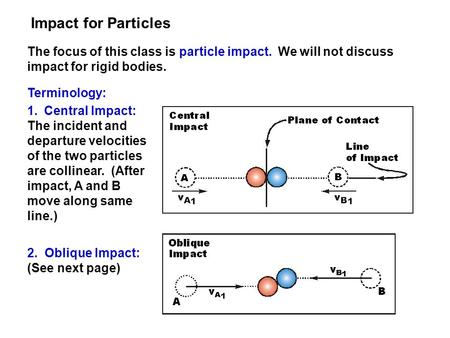 Impact for Particles The focus of this class is particle impact. We will not discuss impact for rigid bodies. Terminology: Central Impact: The incident.