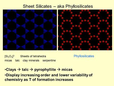 Sheet Silicates – aka Phyllosilicates