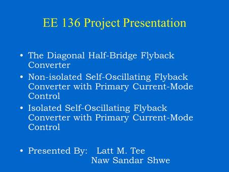 EE 136 Project Presentation