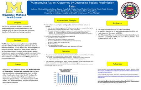 7A Improving Patient Outcomes by Decreasing Patient Readmission Rates Authors: (Marlena Didonoato) Karen Eggers, 7A staff, Dr Rhode, Donna Mcclish, Deby.