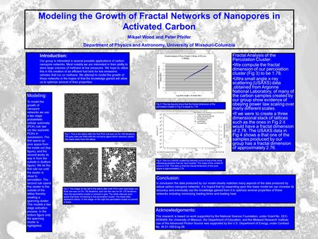 Modeling the Growth of Fractal Networks of Nanopores in Activated Carbon Mikael Wood and Peter Pfeifer Department of Physics and Astronomy, University.